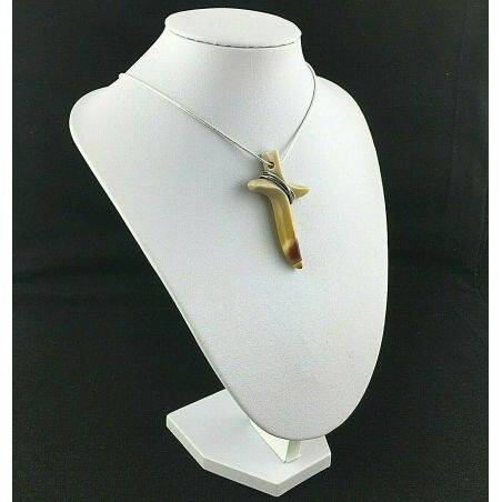 Handmade Cross Cross in Picture Jasper with Silver Plated Necklace Gift Idea−3