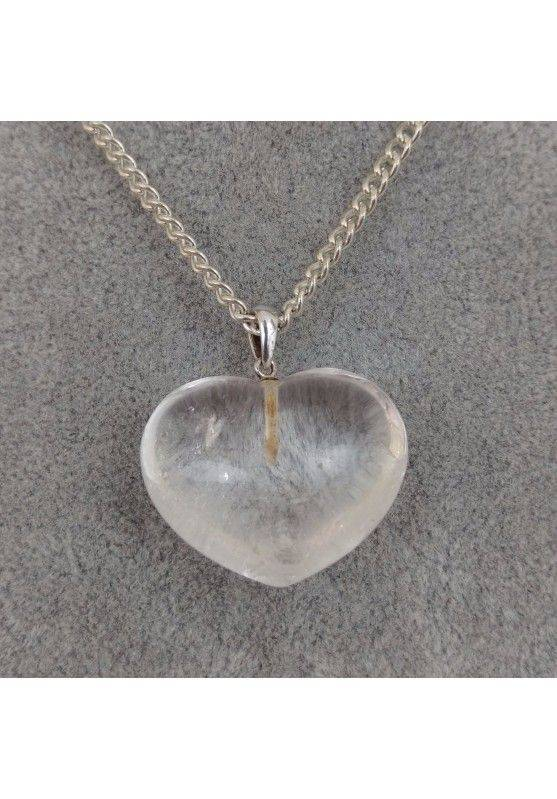 HYALINE Quartz Heart Pendant Sterling Silver 925 Necklace Chain Rock CRYSTAL-1