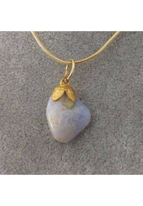 Gold Flower Pendant In Chalcedony Necklace Meditation Chakra Crystal Healing-1