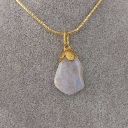 Gold Flower Pendant In Chalcedony Necklace Meditation Chakra Crystal Healing-2