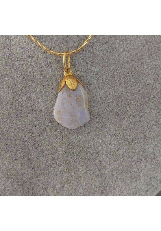 Gold Flower Pendant In Chalcedony Necklace Meditation Chakra Crystal Healing−3