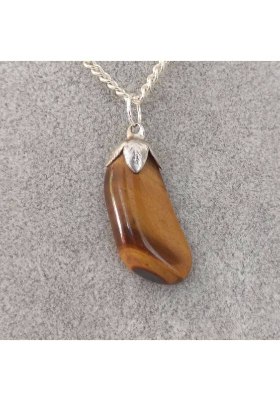 Silver Flower Pendant in TIGER'S EYE Necklace Chakra Crystal Healing Zen-1