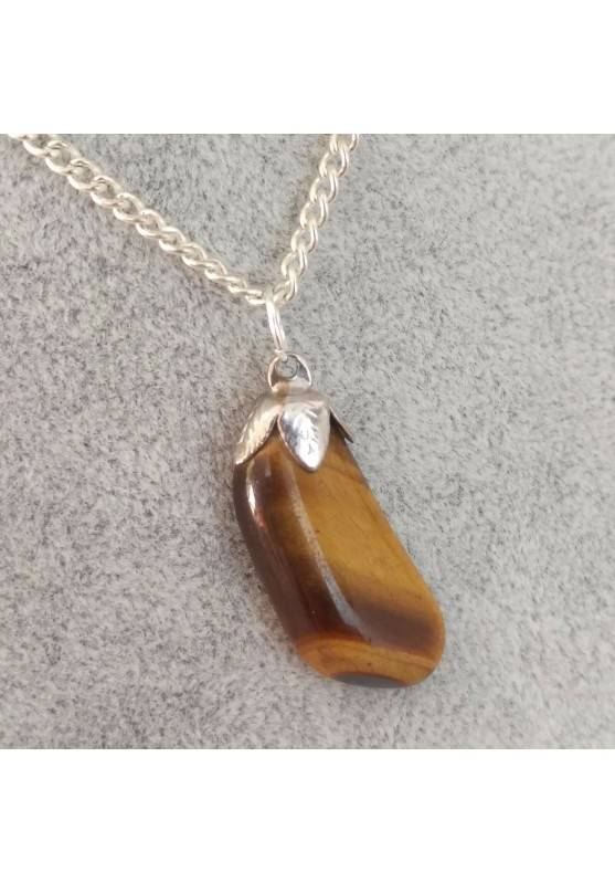 Silver Flower Pendant in TIGER'S EYE Necklace Chakra Crystal Healing Zen-2