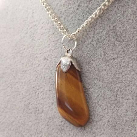 Silver Flower Pendant in TIGER'S EYE Necklace Chakra Crystal Healing Zen-4