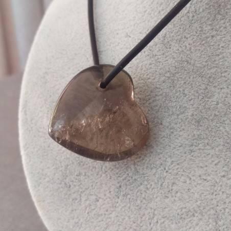 Heart Pendant in Smoked QUARTZ Necklace MINERALS Gift Idea Reiki Chain Stones A+−3