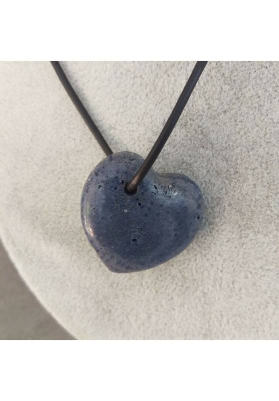 Blue Mother of Pores Madrepore Heart Pendant Necklace MINERALS Chain Gift Idea−3
