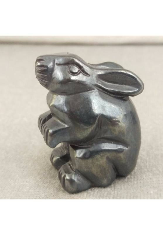 Rabbit in Hematite Home ANIMALS Crystal Healing MINERALS Polished Reiki Aura-1