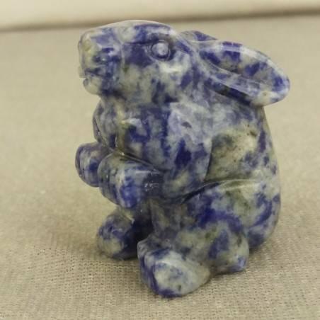 Coniglio in Sodalite Arredo ANIMALI Cristalloterapia Minerali Lavorati Reiki Zen-3