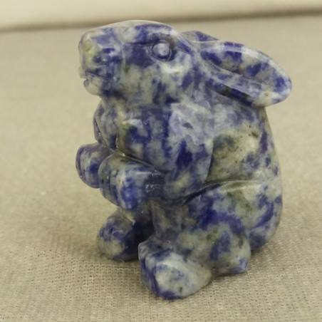 Rabbit in Sodalite Home ANIMALS Crystal Healing MINERALS Polished Reiki Zen−3