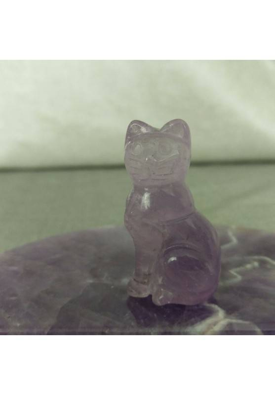 Gatto in AMETISTA Arredo ANIMALI Cristalloterapia Minerali Lavorati Reiki Chakra-2