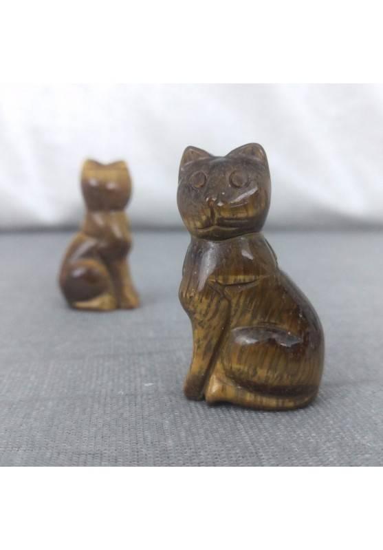 Gatto in Occhio di Tigre Arredo ANIMALI Cristalloterapia Minerali Lavorati Reiki-1