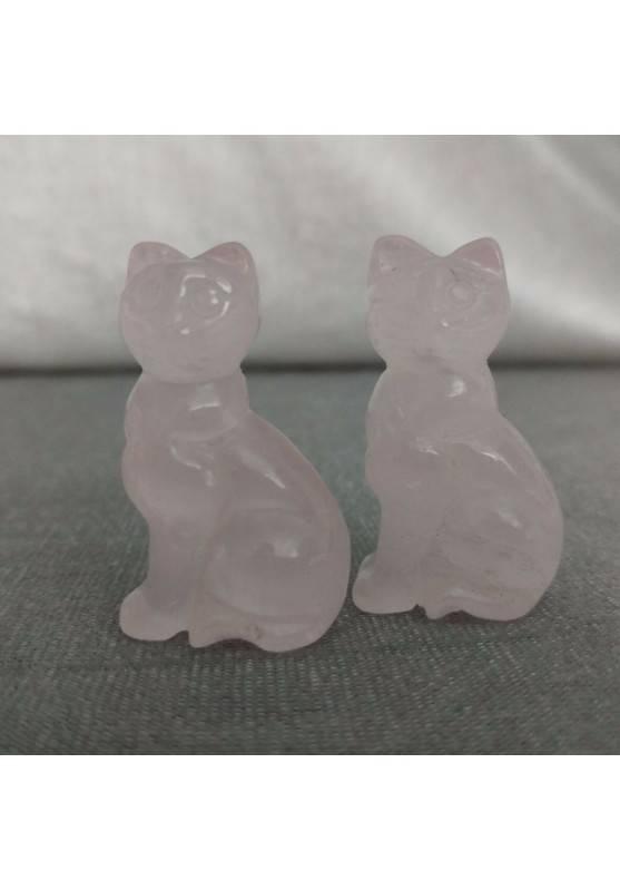 Gatto in Quarzo Rosa Arredo ANIMALI Cristalloterapia Minerali Lavorati Reiki Zen-1