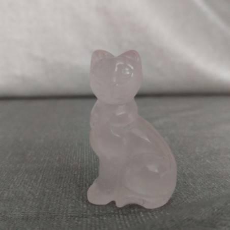 Gatto in Quarzo Rosa Arredo ANIMALI Cristalloterapia Minerali Lavorati Reiki Zen-2