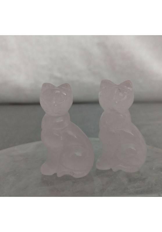 Gatto in Quarzo Rosa Arredo ANIMALI Cristalloterapia Minerali Lavorati Reiki Zen-3