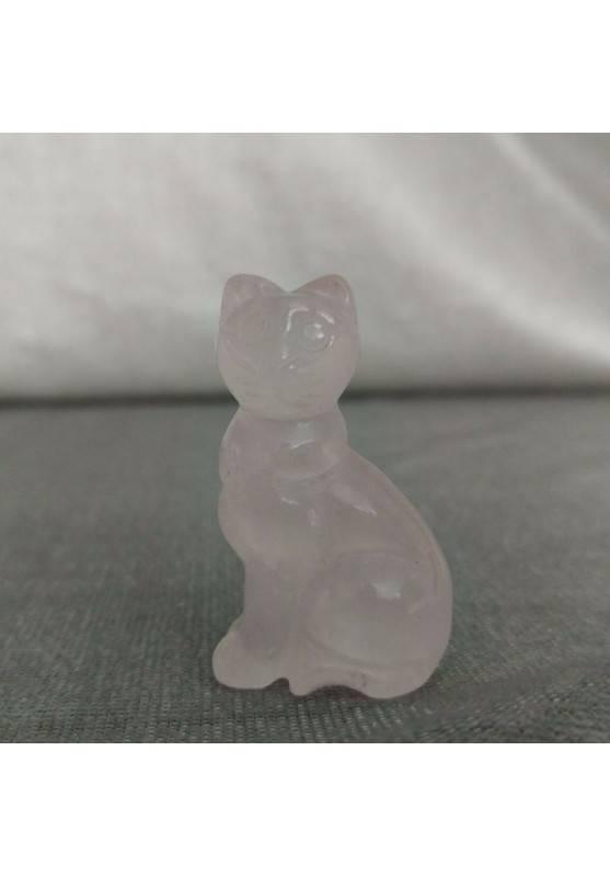 Gatto in Quarzo Rosa Arredo ANIMALI Cristalloterapia Minerali Lavorati Reiki Zen-4
