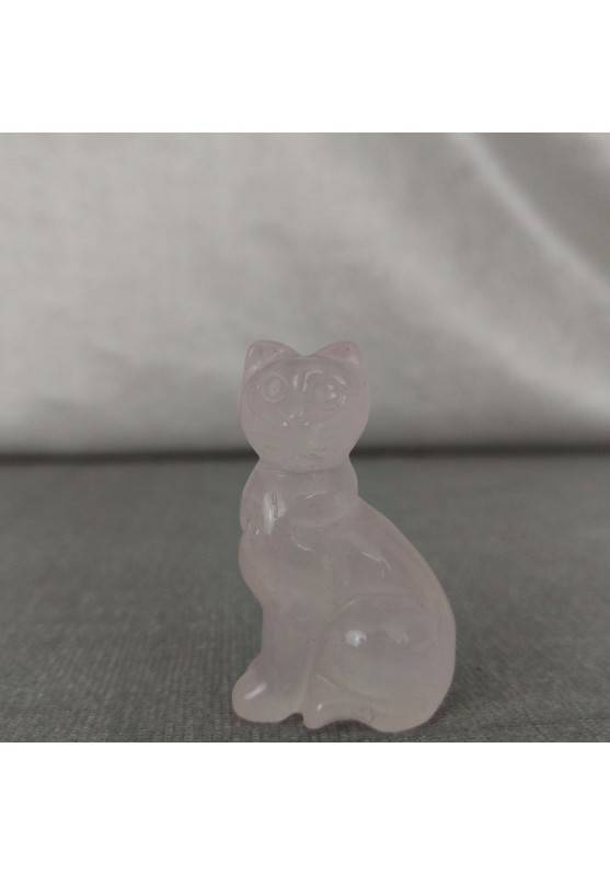 Gatto in Quarzo Rosa Arredo ANIMALI Cristalloterapia Minerali Lavorati Reiki Zen-5