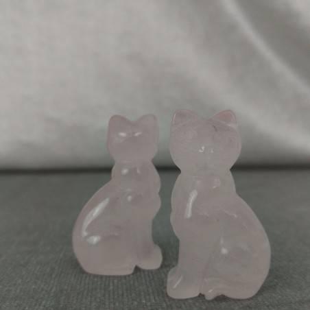 Gatto in Quarzo Rosa Arredo ANIMALI Cristalloterapia Minerali Lavorati Reiki Zen-6