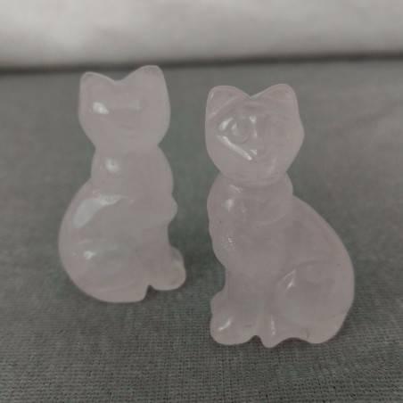 Gatto in Quarzo Rosa Arredo ANIMALI Cristalloterapia Minerali Lavorati Reiki Zen-7