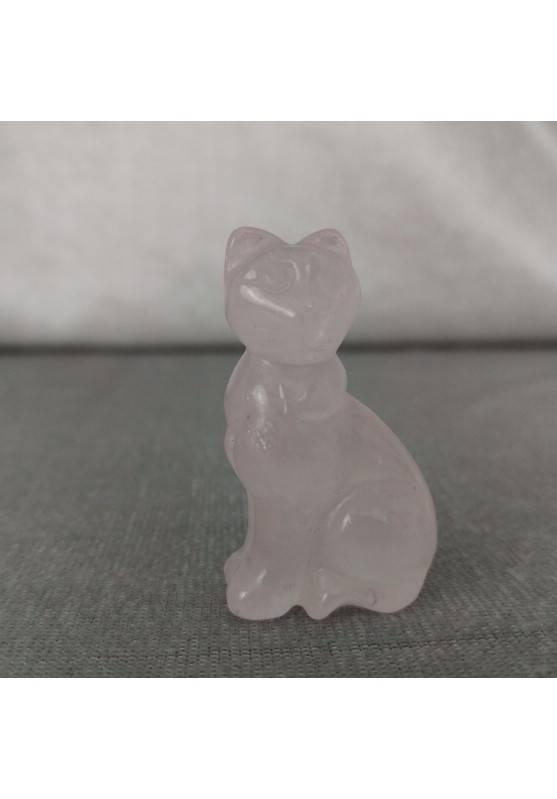 Gatto in Quarzo Rosa Arredo ANIMALI Cristalloterapia Minerali Lavorati Reiki Zen-8