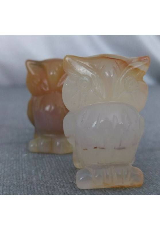 Owl in CARNELIAN Home ANIMALS Crystal Healing MINERALS Polished Feng Shui Zen−3