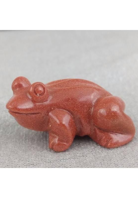 Rana in Pietra del Sole Rossa ANIMALI Rospo Chakra Buddha Portafortuna Regali A+-1