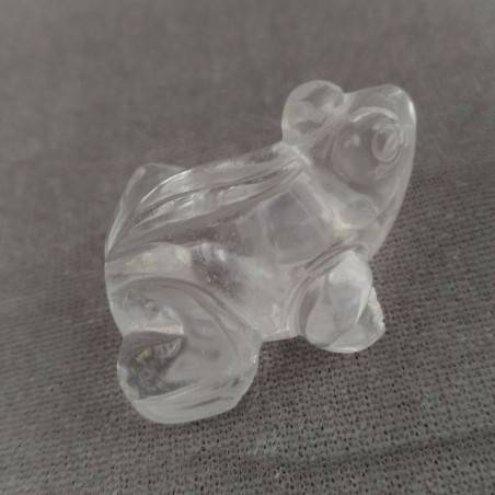 Frog in Hyaline Quartz o Rock CRYSTAL ANIMALS Chakra Buddha MINERALS-4