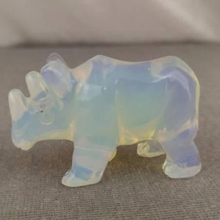 Rhinoceros in Opale Handmade ANIMALS Stone Chakra Buddha Feng Shui Reiki−3