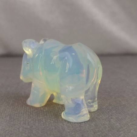 Rhinoceros in Opale Handmade ANIMALS Stone Chakra Buddha Feng Shui Reiki-5