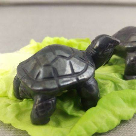 Heart Turtle in Hematite Natural ANIMALS Chakra Buddha Feng Shui Wicca Zen-2