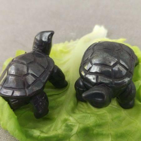 Heart Turtle in Hematite Natural ANIMALS Chakra Buddha Feng Shui Wicca Zen-6