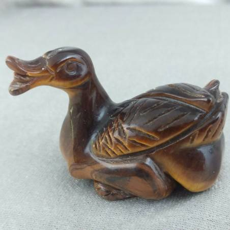 Swan in Tiger's Eye DUCK Polished Handmade Perfect Stone Minerals Chakra−3
