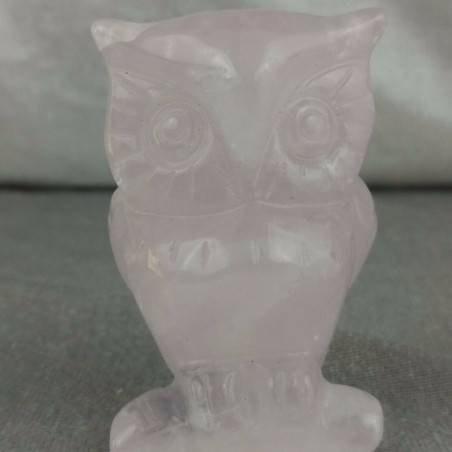 BIG Owl in Rose Quartz OWL Polished da Esperti with LOVE MINERALS Chakra-1