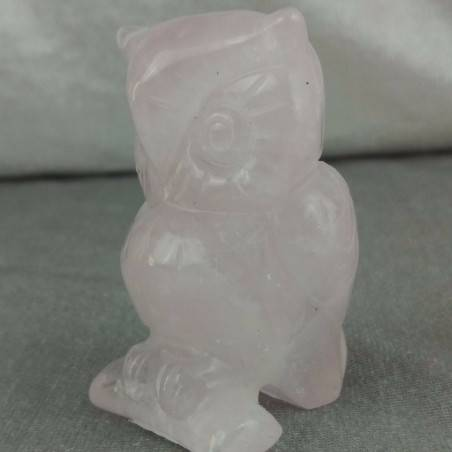 BIG Owl in Rose Quartz OWL Polished da Esperti with LOVE MINERALS Chakra-2