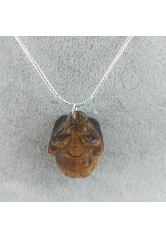 Pendant in TIGER'S EYE Frog Necklace Crystal Healing Zen Fengh Shui Toad Healing-1