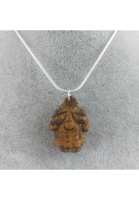 Pendant in TIGER'S EYE Frog Necklace Crystal Healing Zen Fengh Shui Toad Healing−3
