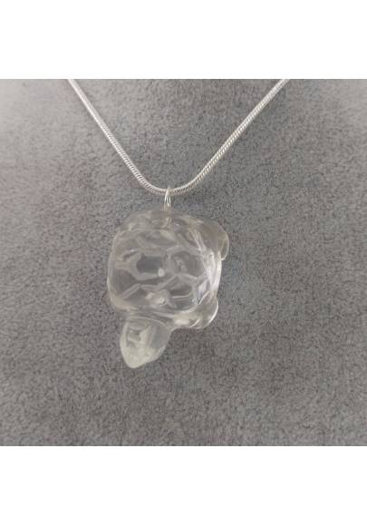 Turtle Pendant in Hyaline Quartz Rock CRYSTAL Necklace Gift Idea Charm-1