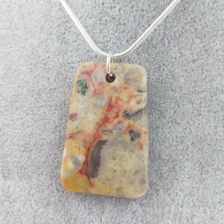 Pendant Gemstone in Ocean JASPER Chiaro with Monile SILVER Plated Necklace A+-1