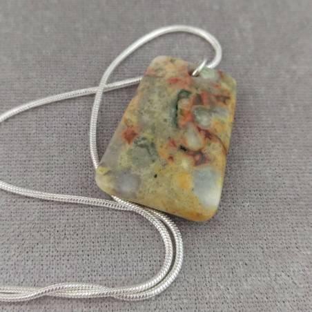 Pendant Gemstone in Ocean JASPER Chiaro with Monile SILVER Plated Necklace A+-2