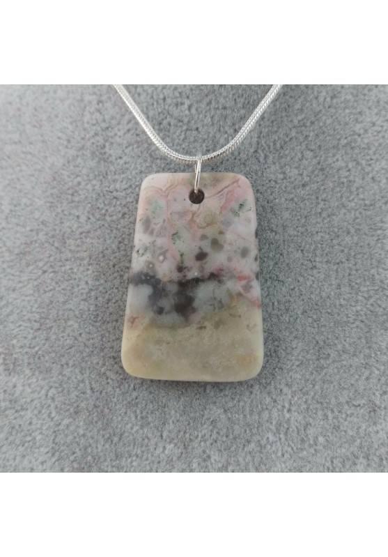 Pendant Gemstone in Ocean JASPER Chiaro with Monile SILVER Plated Necklace A+-4