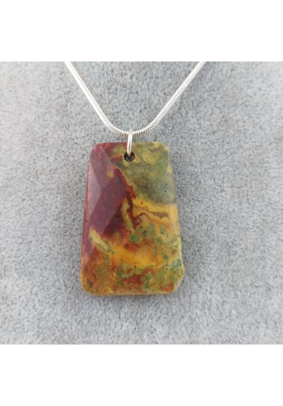 Pendant Gemstone in Ocean JASPER Scuro with Monile SILVER Plated Necklace A+-1