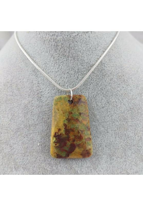 Pendant Gemstone in Ocean JASPER Scuro with Monile SILVER Plated Necklace A+-2