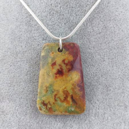 Pendant Gemstone in Ocean JASPER Scuro with Monile SILVER Plated Necklace A+−3