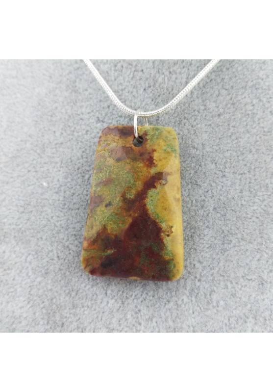 Pendant Gemstone in Ocean JASPER Scuro with Monile SILVER Plated Necklace A+-4