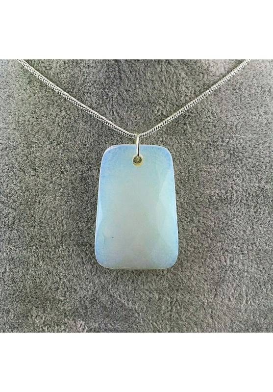 Pendant Gemstone in OPALITE Faceted with Monile SILVER Plated Necklace-1