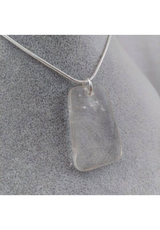 Pendant Gemstone of Hyaline Quartz Faceted with Monile SILVER Plated Necklace-1