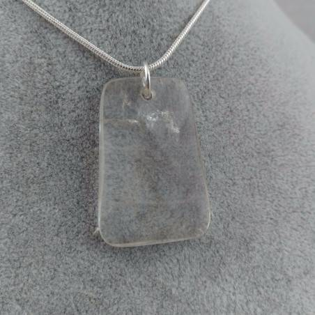 Pendant Gemstone of Hyaline Quartz Faceted with Monile SILVER Plated Necklace-2