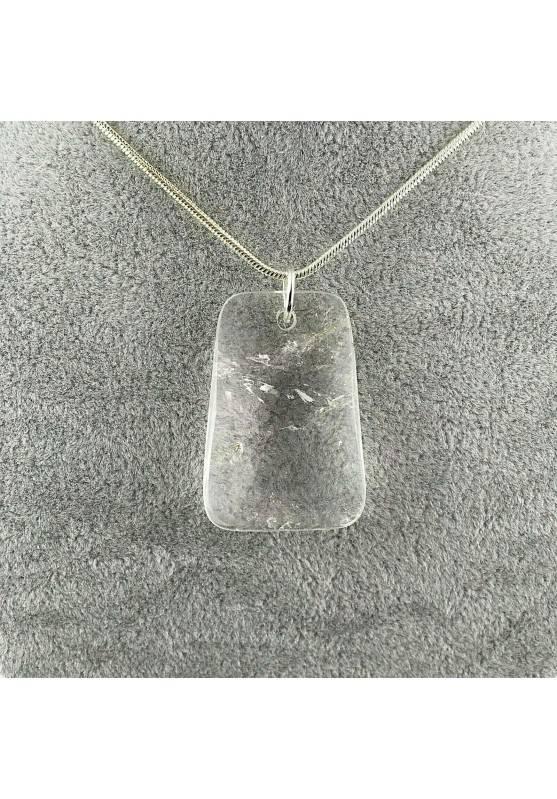 Ciondolo GEMMA di Quarzo Ialino Sfaccettato Collana Pendente Cristalloterapia A+-1