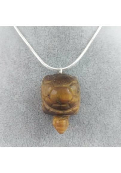 Tiger's EYE Turtle Pendant - SCORPIO CAPRICORN LEO MINERALS Necklace-1